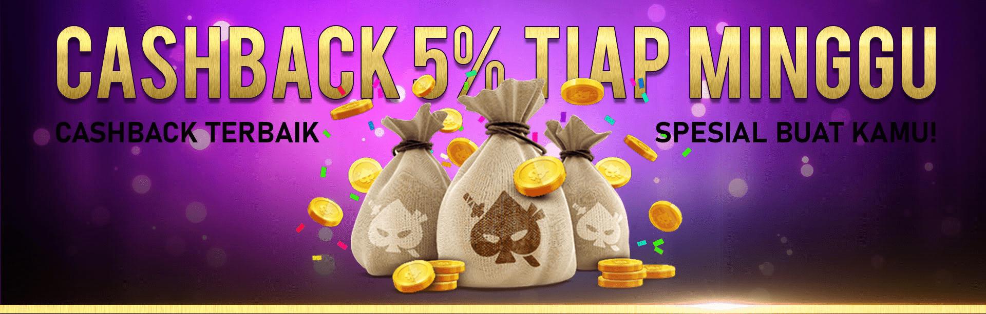 Cashback 5 % Mingguan